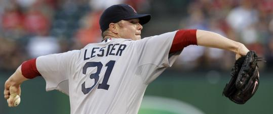 Red Sox lefthander Jon Lester threw eight innings of shutout ball, allowing five hits, in earning his 13th win of the season.