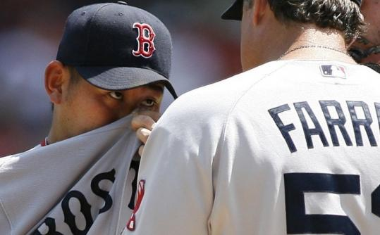 This early pep talk from John Farrell must've helped, because Daisuke Matsuzaka held Texas to one run into the seventh.