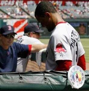Eric Patterson and the Red Sox were dealing with some extreme heat in Texas yesterday.