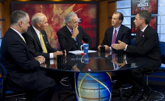 Four candidates for the Republican nomination in the 10th Congressional District met yesterday in a debate on NECN moderated by Jim Braude (center). They are (from left), Robert Hayden, Ray Kasperowicz, Joseph D. Malone, and Jeffrey Perry.
