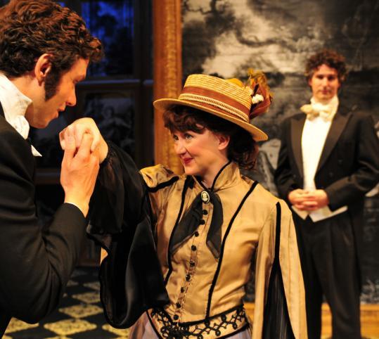 "Lewis D. Wheeler (left), Carrie Ann Quinn, and Brendan Powers play multiple roles in Oscar Wilde's ""An Ideal Husband.''"