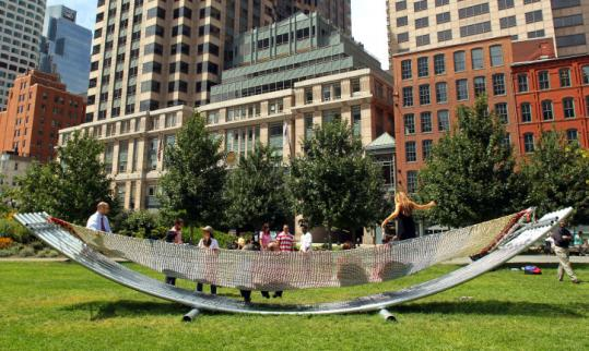 The big hammock on the Rose Kennedy Greenway, designed by architect Hansy Better Barraza, was a popular spot yesterday.