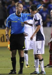 The Revolution's Marko Perovic used his hands to make a point while arguing a call with referee Michael Kennedy.