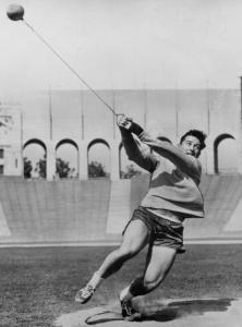 Harold Connolly of the Boston Athletic Club worked out at the Los Angeles Coliseum in 1956.