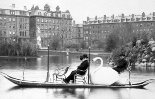 One of Historic New England's photos shows a swan boat in the Public Garden in about 1883.