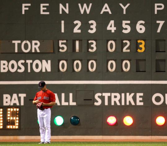 The Fenway toteboard had a busy night trying to keep track of the Blue Jays' offensive explosions.