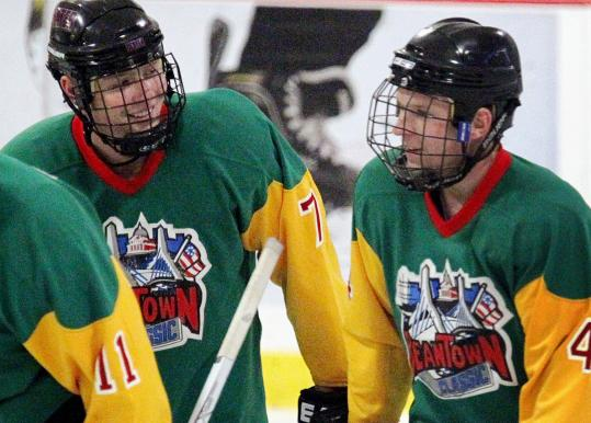 Local skaters Jared Wiedemann (left) of Pembroke and Eddie Nolan played for the Bombers squad at the Beantown Classic.