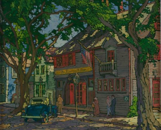 "Bessie Hoover Wessel's ""Blacksmith Shop, Rockport, 1930s.'' The restaurant was an artists' hub at the time."