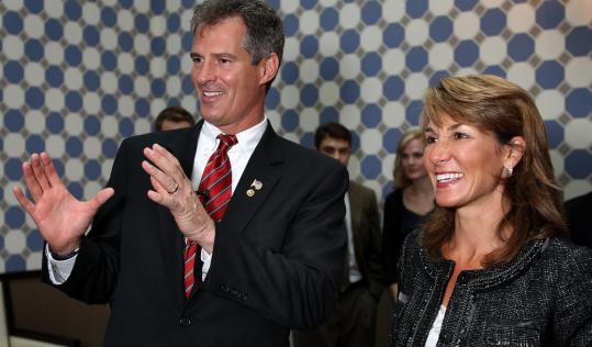 Scott Brown endorsed Karyn Polito, a candidate for state treasurer, at The Liberty Hotel in Boston yesterday.