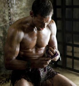 "Andy Whitfield stars in ""Spartacus: Blood and Sand'' (2010)."