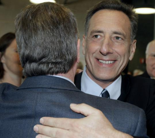 Peter Shumlin was congratulated Wednesday when he won the Democratic gubernatorial primary in Vermont by a small margin. Runner-up Doug Racine is asking for a recount.