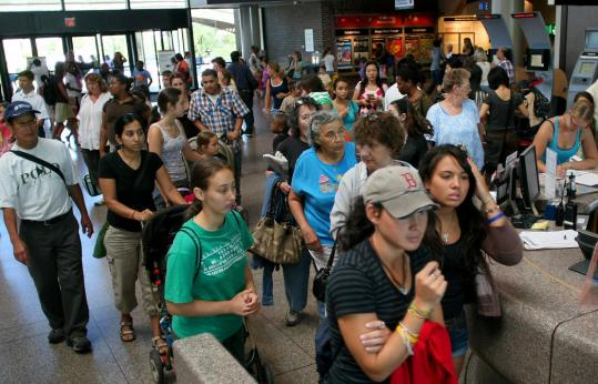 Crowds filled the Museum of Science lobby yesterday for its Free Fun Friday event.