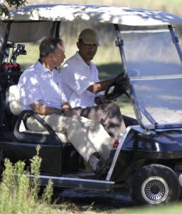 President Obama went golfing with New York Mayor Michael Bloomberg.