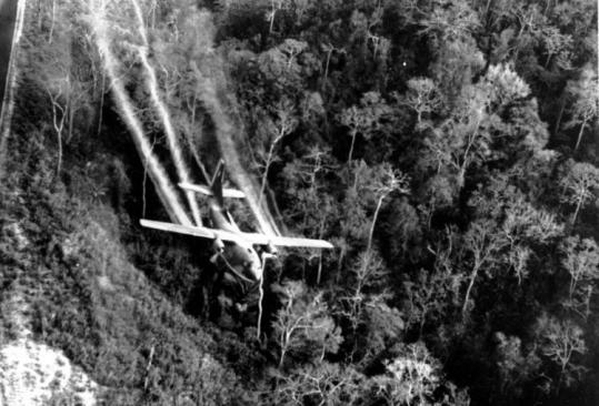 In this 1966 photo, a US Air Force C-123 sprayed the Agent Orange defoliant along a South Vietnam jungle.