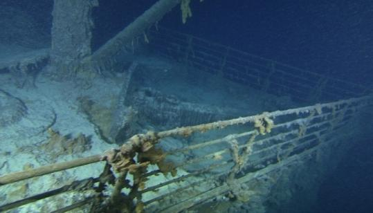 This image released on Saturday shows the starboard, or right, side of the Titanic's bow.