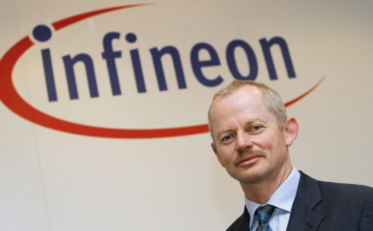 Peter Bauer, chief executive of Infineon Technologies AG, at yesterday&#8217;s announcement of the $1.4 billion sale to Intel.