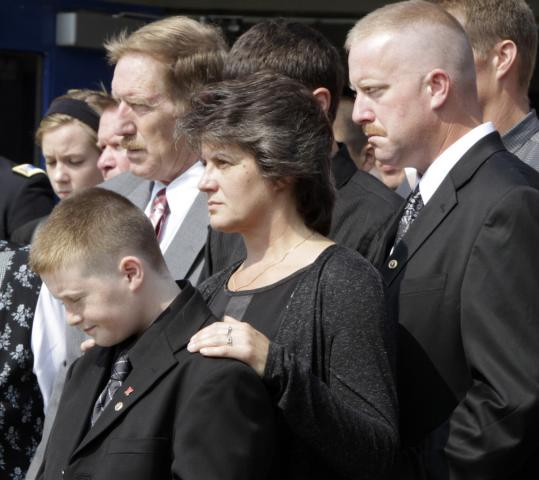 The family of Sergeant Tristan Southworth after his funeral service yesterday in Hardwick, Vt. Southworth died trying to rescue a fellow soldier during a battle in Afghanistan.