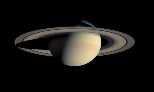 "An image of Saturn from ""Beyond: Visions of Our Solar System'' at the National Air and Space Museum in Washington."