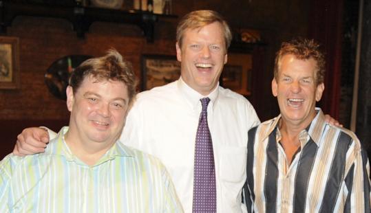From left: John Barmon Jr., Charlie Baker, and Lenny Clarke at the Lansdowne Pub last night.