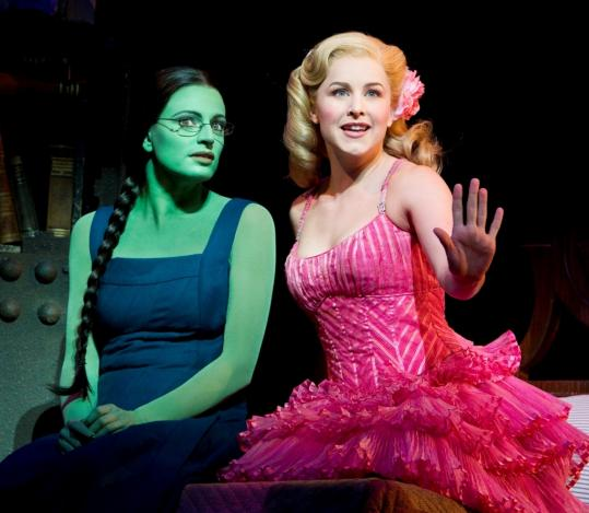"Jackie Burns as Elphaba, the Wicked Witch, and Chandra Lee Schwartz as Galinda, in ""Wicked,'' at the Boston Opera House."