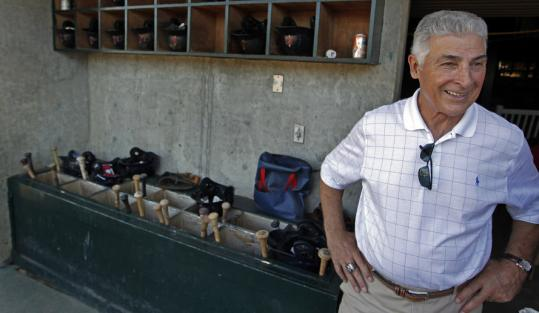 Red Sox consultant Dick Berardino visits the home dugout at LeLacheur Park in Lowell, where he was manager of the Class-A Spinners for two years.