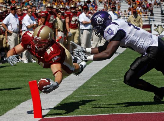 Tight end Chris Pantale makes the first touchdown of the season for BC a rather spectacular one with this dive into the end zone.