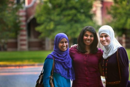 Laila Alawa (right), with Ameera Keval (center) and Maliha Rahman, Wellesley juniors.