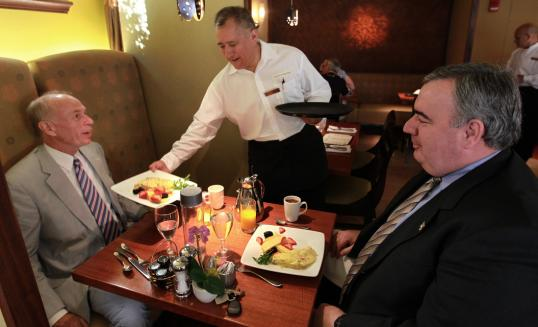 John Larivee and Police Commissioner Edward F. Davis at Stanhope Grille last week.