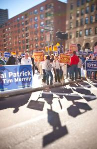 Hundreds of supporters of various political candidates lined sidewalks near the Park Plaza Hotel, where the Greater Boston Labor Council's annual Labor Day Breakfast was held.