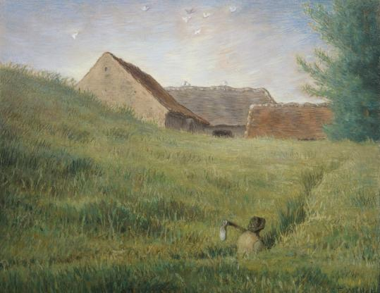 "Jean-François Millet's ""Path Through the Wheat,'' part of a small exhibit of the artist's works at the Museum of Fine Arts."