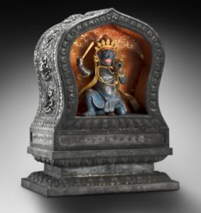 """A shrine and statue of Jingang from """"The Emperor's Private Paradise'' at the Peabody Essex Museum."""