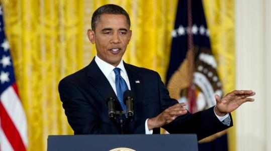 President Obama made his appeal at a press conference in the East Room of the White House.