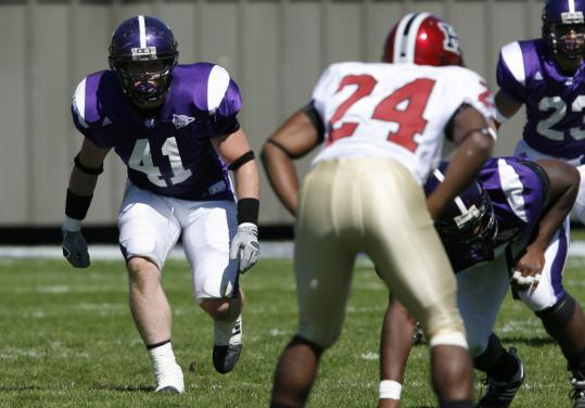 A knee injury in Week 3 against Harvard forced outside linebacker Sean Lamkin (41) to watch the Crusaders' run to the Patriot League title from the sideline last season.
