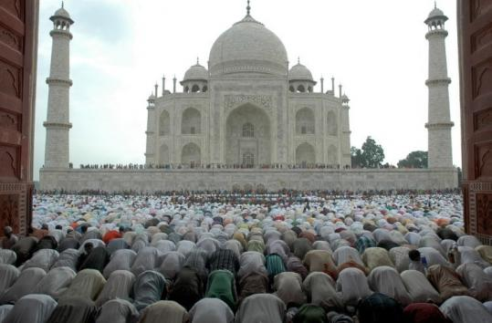 At the Taj Mahal in Agra, India, Muslims offered prayers for Eid al-Fitr, which marks the end of Ramadan.