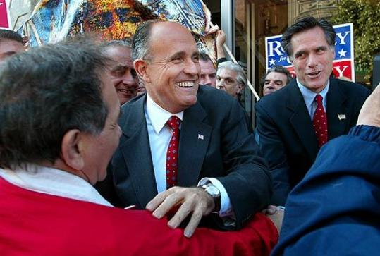 New York City Mayor Rudy Giuliani and Mitt Romney, then a candidate for governor, tour the North End in 2002.