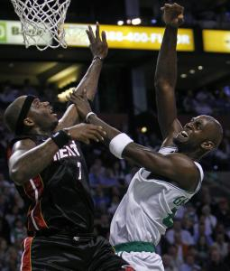Jermaine O'Neal (left) won't have to joust any more with Kevin Garnett; now they're teammates.