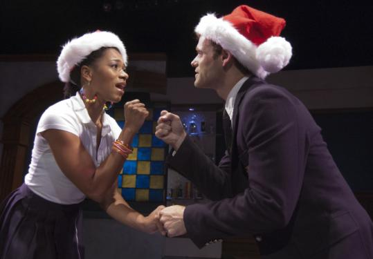 "Kelly McCreary (Meghan) and Clayton Apgar (Jasper) in ""Perfect Harmony'' at the Stoneham Theatre."