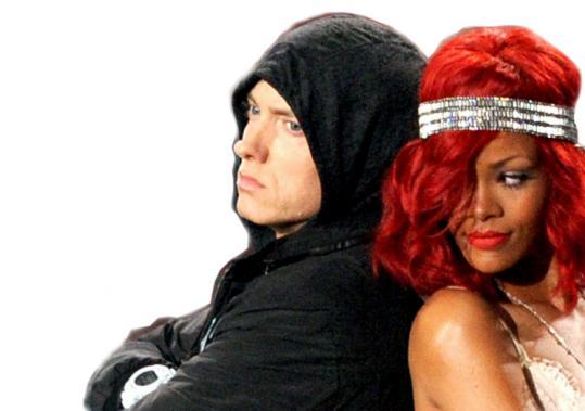 Eminem and Rihanna at the 2010 MTV VMAs.