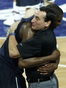Kevin Durant and coach Mike Krzyzewski embraced once the gold medal was secured.