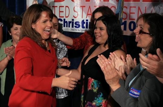 Upstart Christine O'Donnell upset incumbent Representative Mike Castle in Delaware's US Senate Republican primary race.