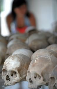 Skulls at the Choeung Ek killing fields memorial in Phnom Penh are a reminder of the 1.7 million deaths blamed on the Khmer Rouge regime, including four ex-leaders now facing trial.