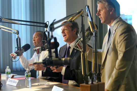 From left, Governor Deval Patrick, a Democrat, Charles D. Baker, a Republican, and Timothy P. Cahill, who is running as an independent, participated in a sometimes impassioned debate on WTKK radio yesterday.