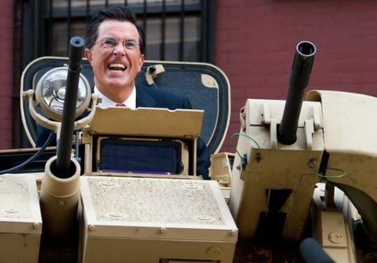 "Stephen Colbert wins the award for comedic integrity with his ""March to Keep Fear Alive,'' even if he doesn't show up in this armored security vehicle."