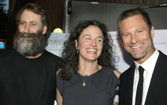 """From left: """"To Be Friends'' director Jim Eckhart, his girlfriend Debbie Lynn, and brother Aaron Eckhart."""
