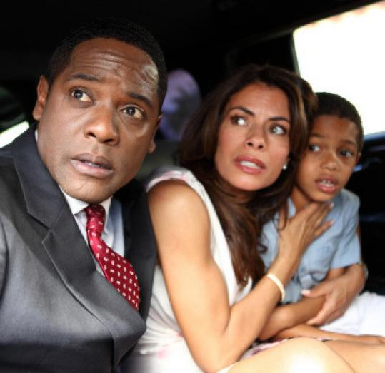 "From left: Blair Underwood Lisa Vidal, and Sayeed Shahidi in ""The Event.''"