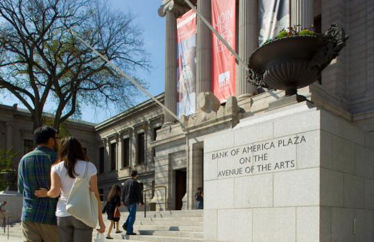 Granite plinths being unveiled today at the Museum of Fine Arts will greet visitors with a new designation for the Huntington Avenue entrance.