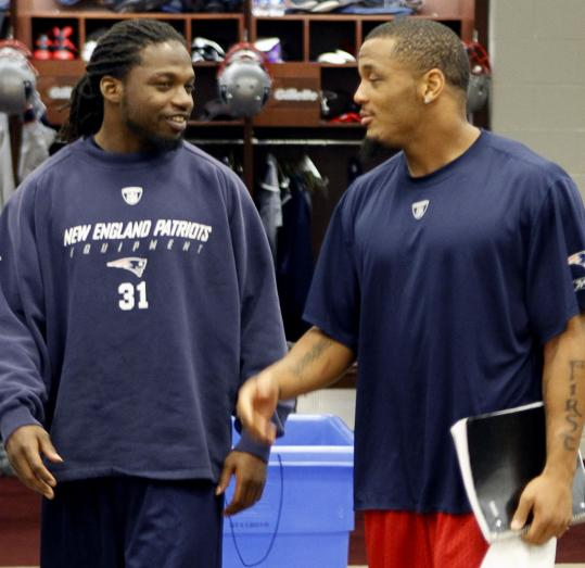 Film day was a time of reflection for Patriots safeties Brandon Meriweather (left) and Patrick Chung.