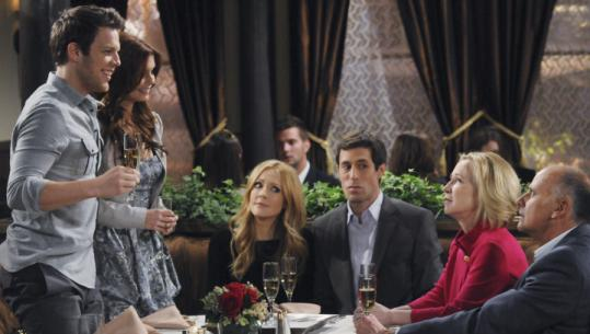 "From left: Jake Lacy, JoAnna Garcia, Jennifer Finnigan, Josh Cooke, Debra Jo Rupp, Kurt Fuller in ""Better With You.''"