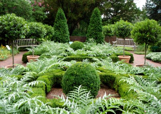 The Martha Stewart-designed herb garden at the New York Botanical Garden in the Bronx.