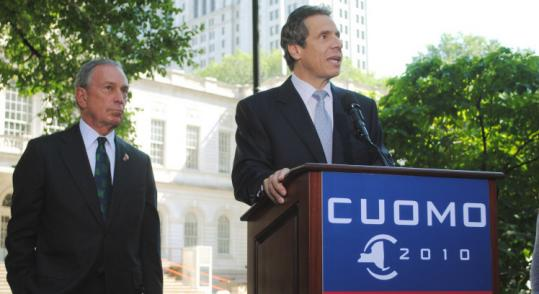 "Mayor Michael R. Bloomberg (left) said Andrew Cuomo ""knows that real change requires reaching across the aisle.''"